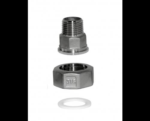 Half union (Pump Union) with PTFE gasket (M/F)