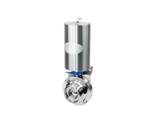 Vanne à disque avec filetage mâle DIN 11851 pneumatique. Actionneur à double effet (air/air)