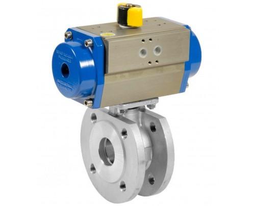 Válvula de bola bridada compacta con Actuador de doble efecto IG